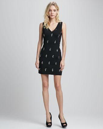 Tracy Reese Vneck Dress with Diamondshape Studs - Lyst