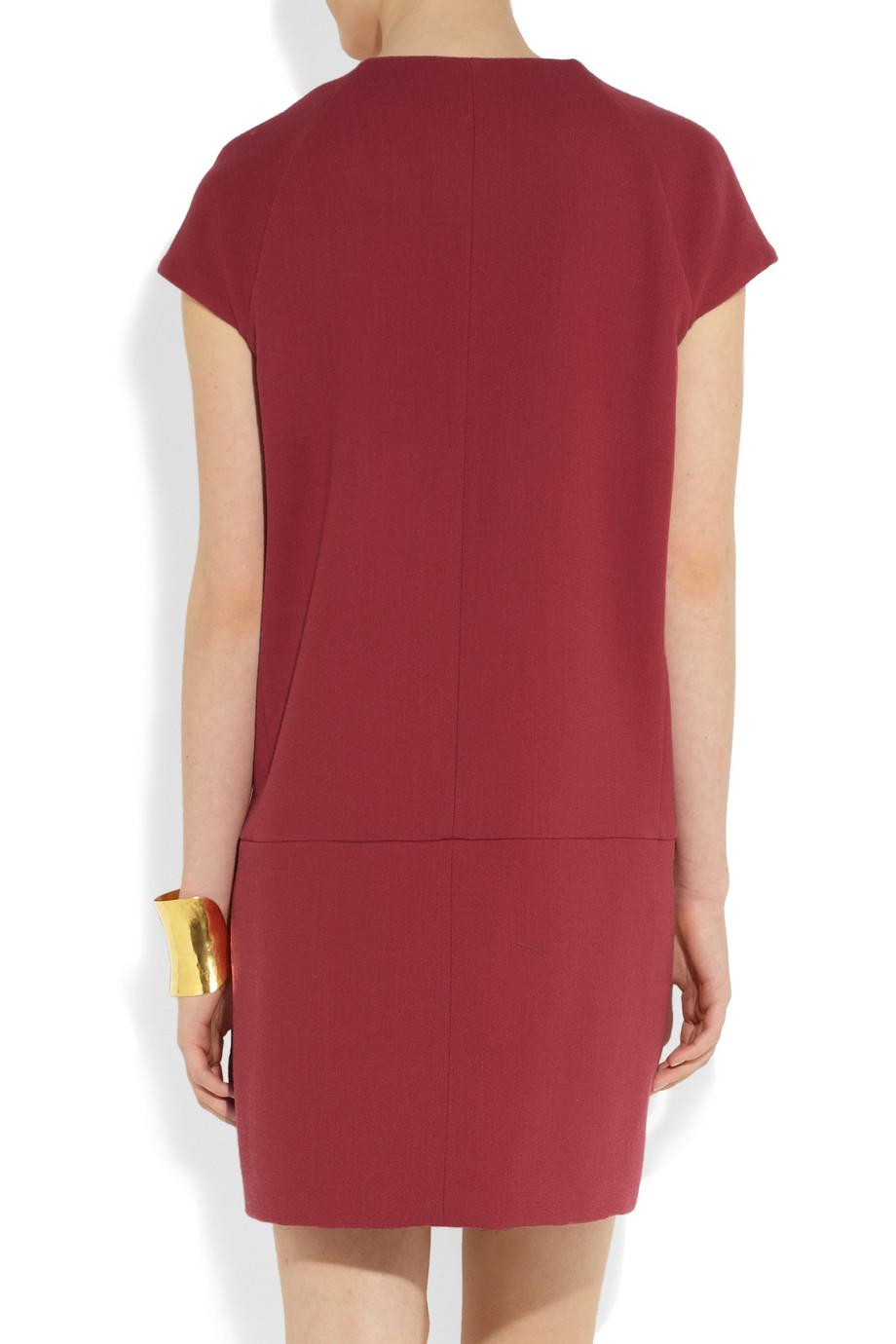 Victoria Victoria Beckham Wool Crepe Mini Dress In Red Lyst