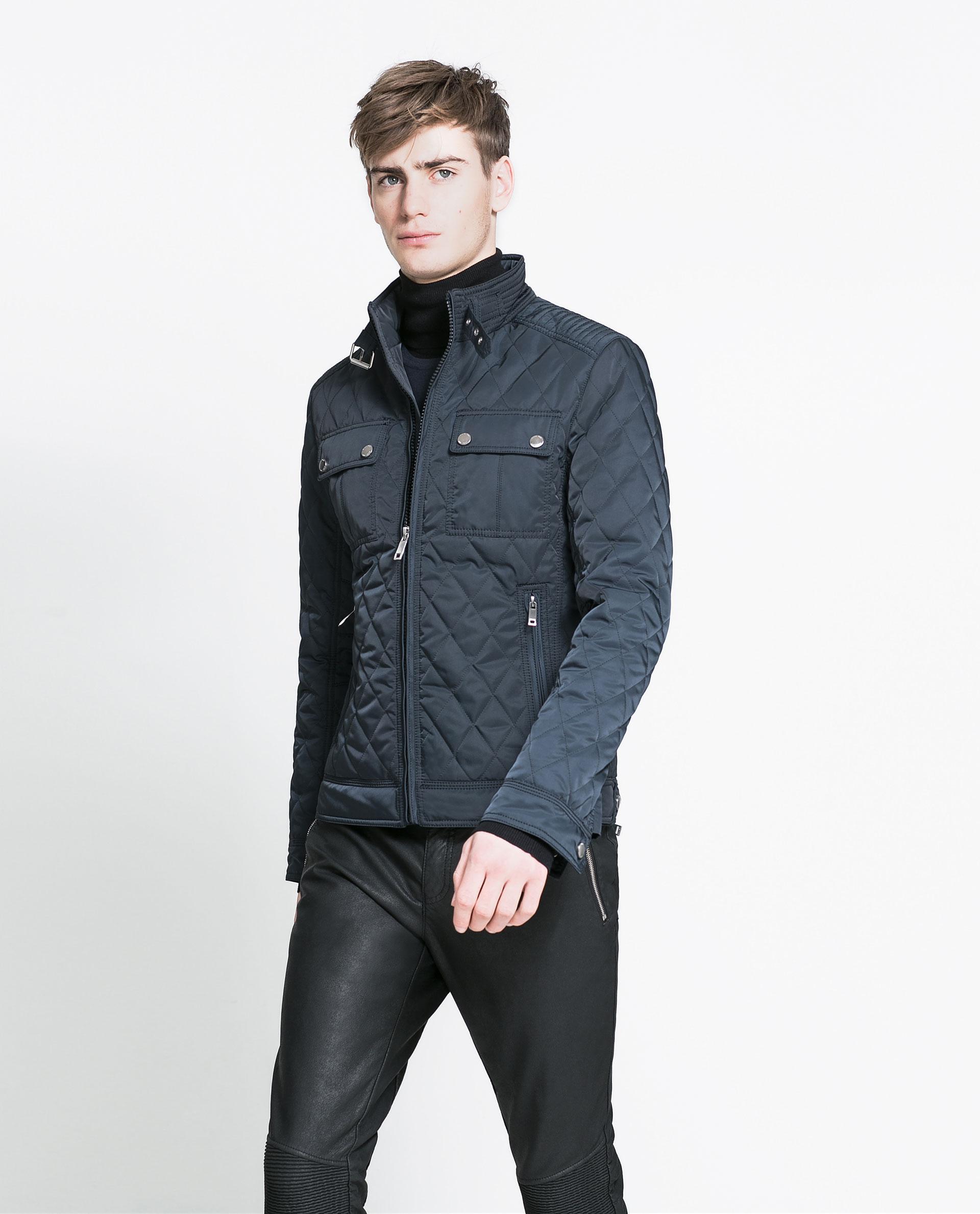 zara quilted jacket in blue for men navy blue lyst. Black Bedroom Furniture Sets. Home Design Ideas