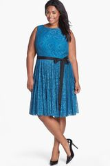 Adrianna Papell Lace Fit Flare Dress - Lyst