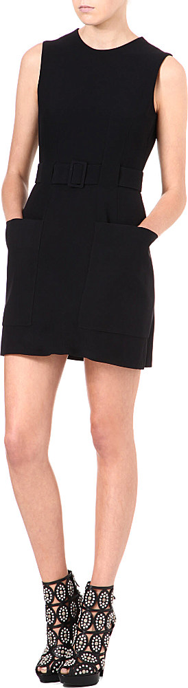 e5909af528 Alexander McQueen Oversized Pocket Crepe Dress in Black - Lyst
