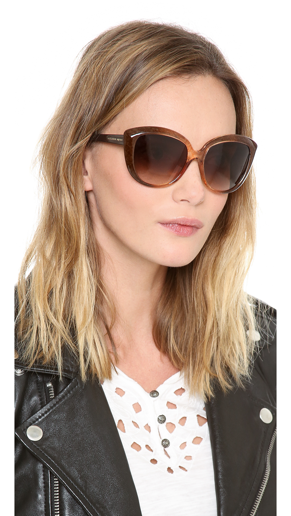 Alexander Mcqueen Cateye Sunglasses  alexander mcqueen cat eye sunglasses in brown lyst