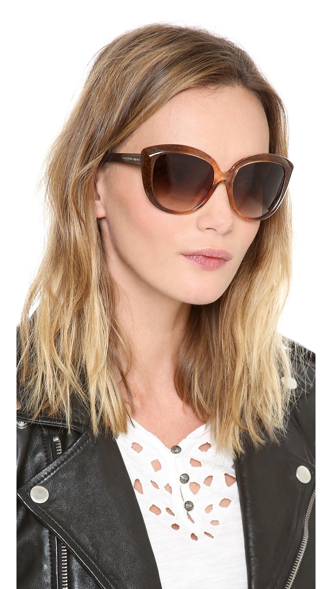 Alexander Mcqueen Cateye Sunglasses  alexander mcqueen cat eye sunglasses in brown lyst