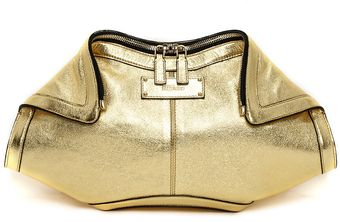 Alexander McQueen Gold Rocher Lambskin Leather Clutch - Lyst
