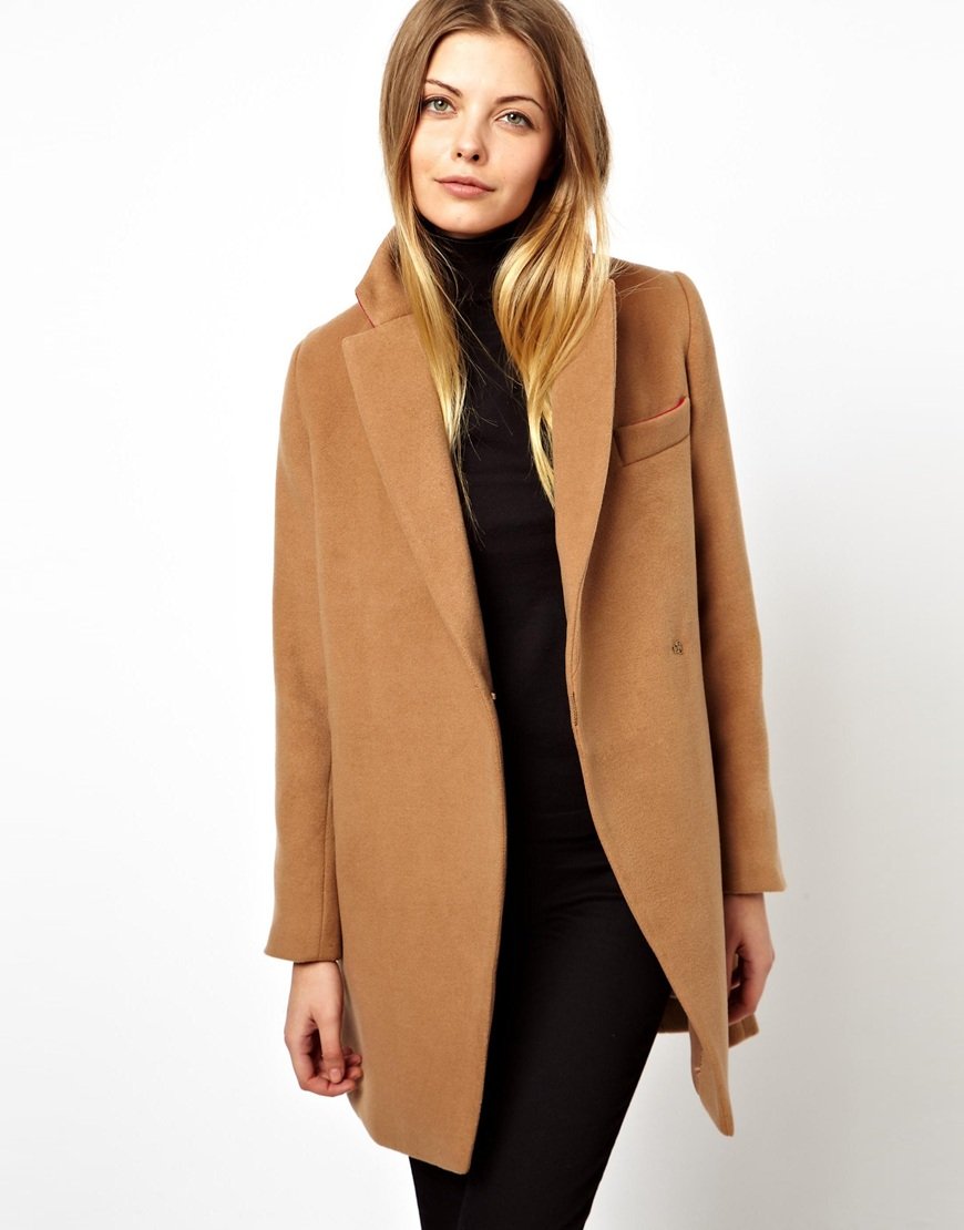 lyst asos exclusive coat with contrast collar in brown. Black Bedroom Furniture Sets. Home Design Ideas