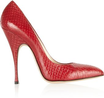 Brian Atwood Starlet Snakeeffect Leather Pumps - Lyst