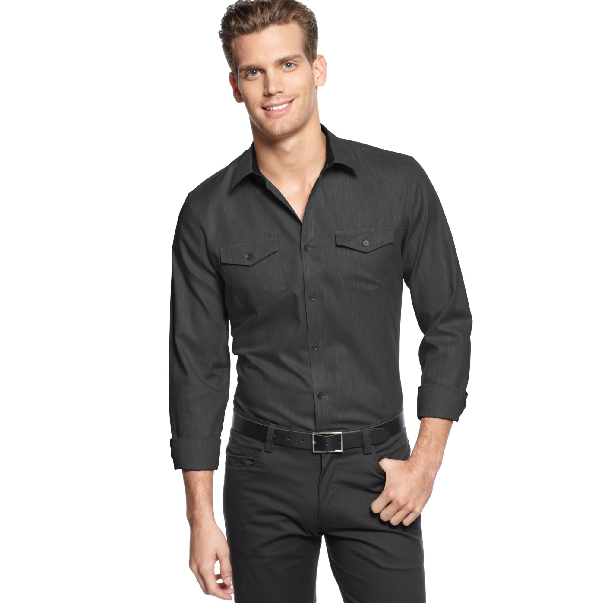 Lyst calvin klein long sleeve heather twill slim fit for Calvin klein athletic fit dress shirt