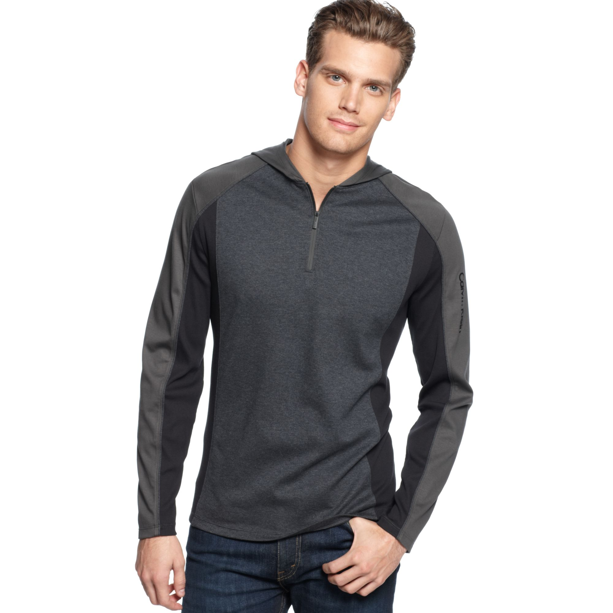 calvin klein long sleeve interlock ribbed hoodie shirt in gray for men raven lyst. Black Bedroom Furniture Sets. Home Design Ideas
