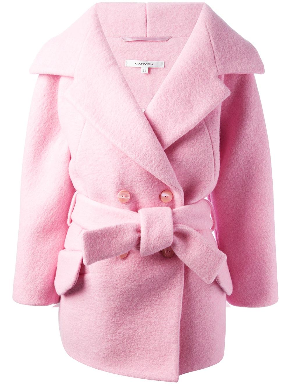 Carven Oversize Belted Coat in Pink | Lyst