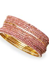 Chamak By Priya Kakkar Set Of 10 Crystal Bangles Pink - Lyst