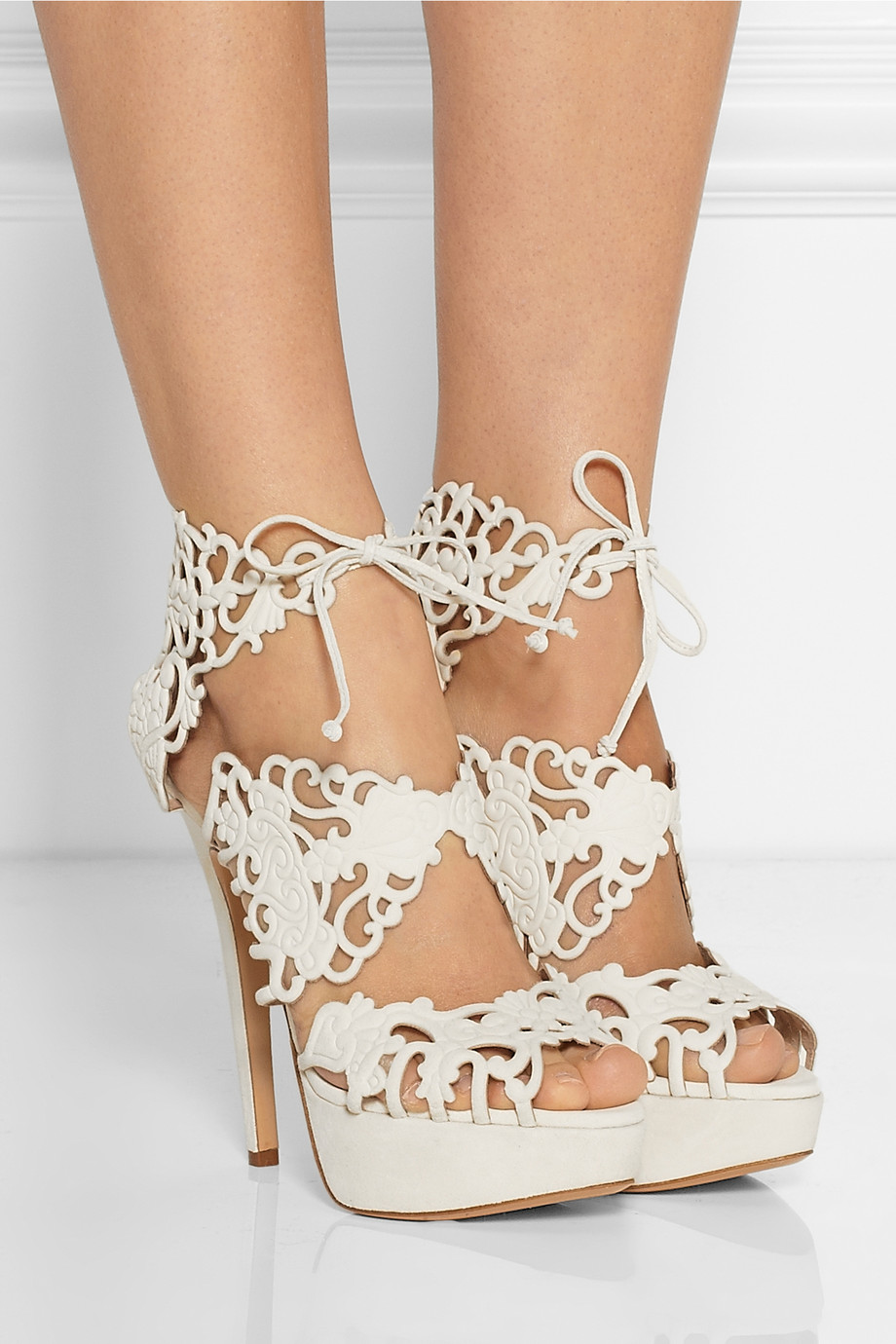 Charlotte Olympia Belinda Cutout Suede Sandals In White Lyst