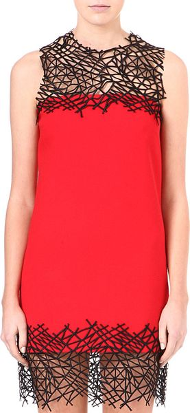 Christopher Kane Lace Panel Wool Dress - Lyst