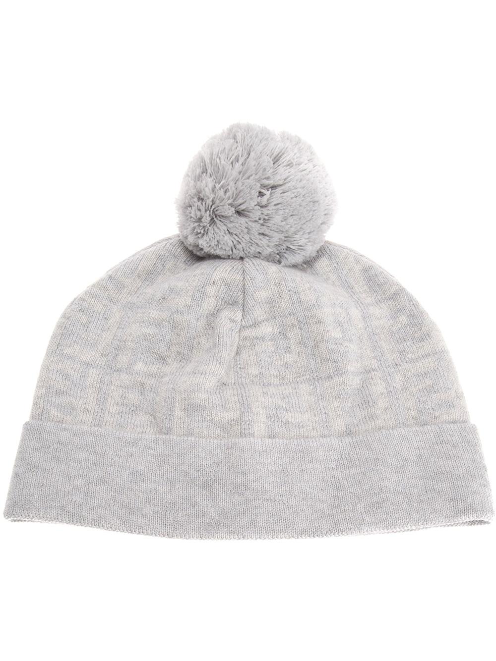 Lyst - Fendi Jacquard Monogram Bobble Hat in Gray for Men 0894139fff67