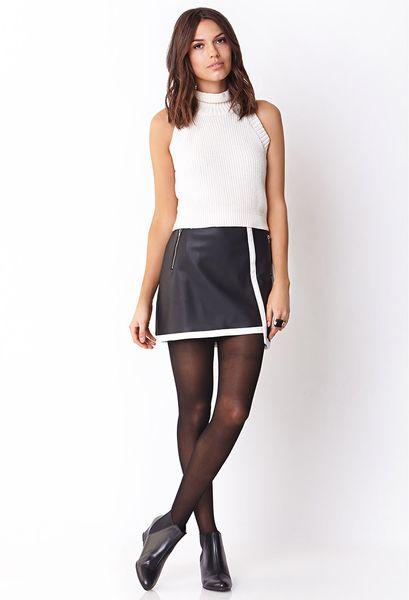 forever 21 sleek faux leather skirt in white black ivory