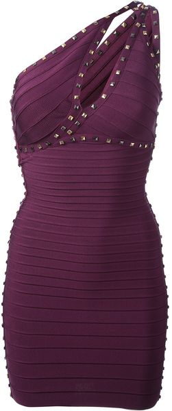 Hervé Léger Studded Stretch Knit Dress - Lyst