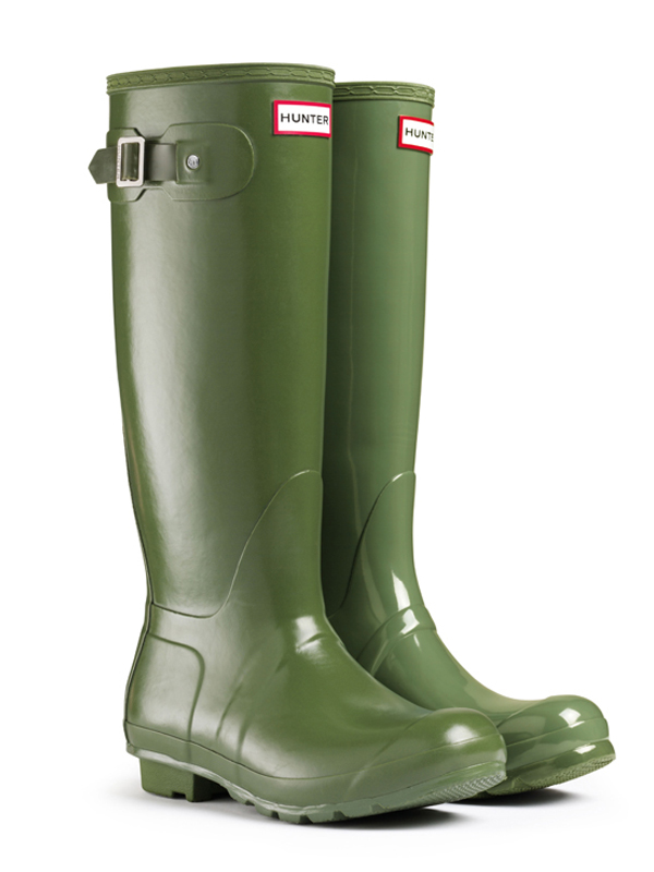 Hunter Original Tall Leather Lined Rain Boots in Green | Lyst