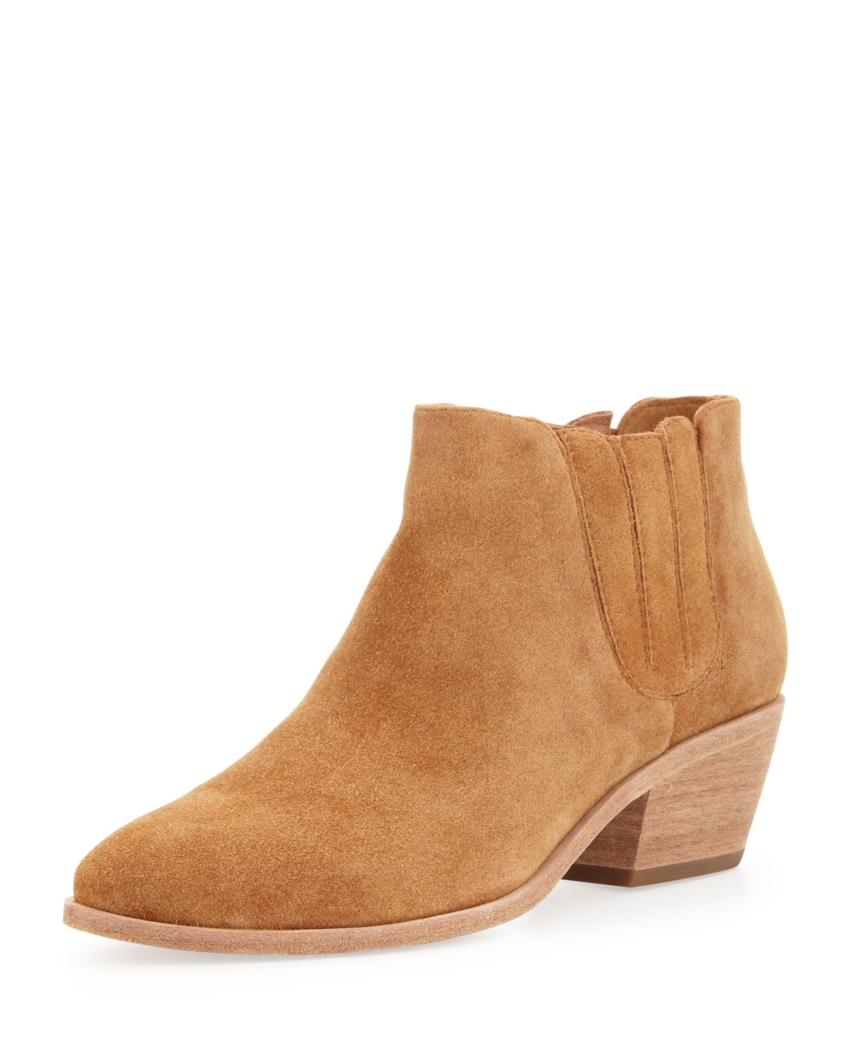 joie barlow suede stretch ankle boot in brown cognac lyst