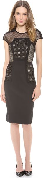 Lela Rose Placed Lace Sheath Dress - Lyst