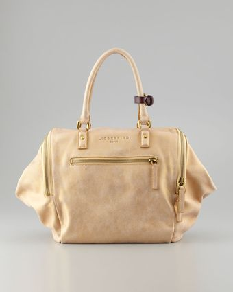 Liebeskind Kayla Metallic Satchel Bag Gold - Lyst