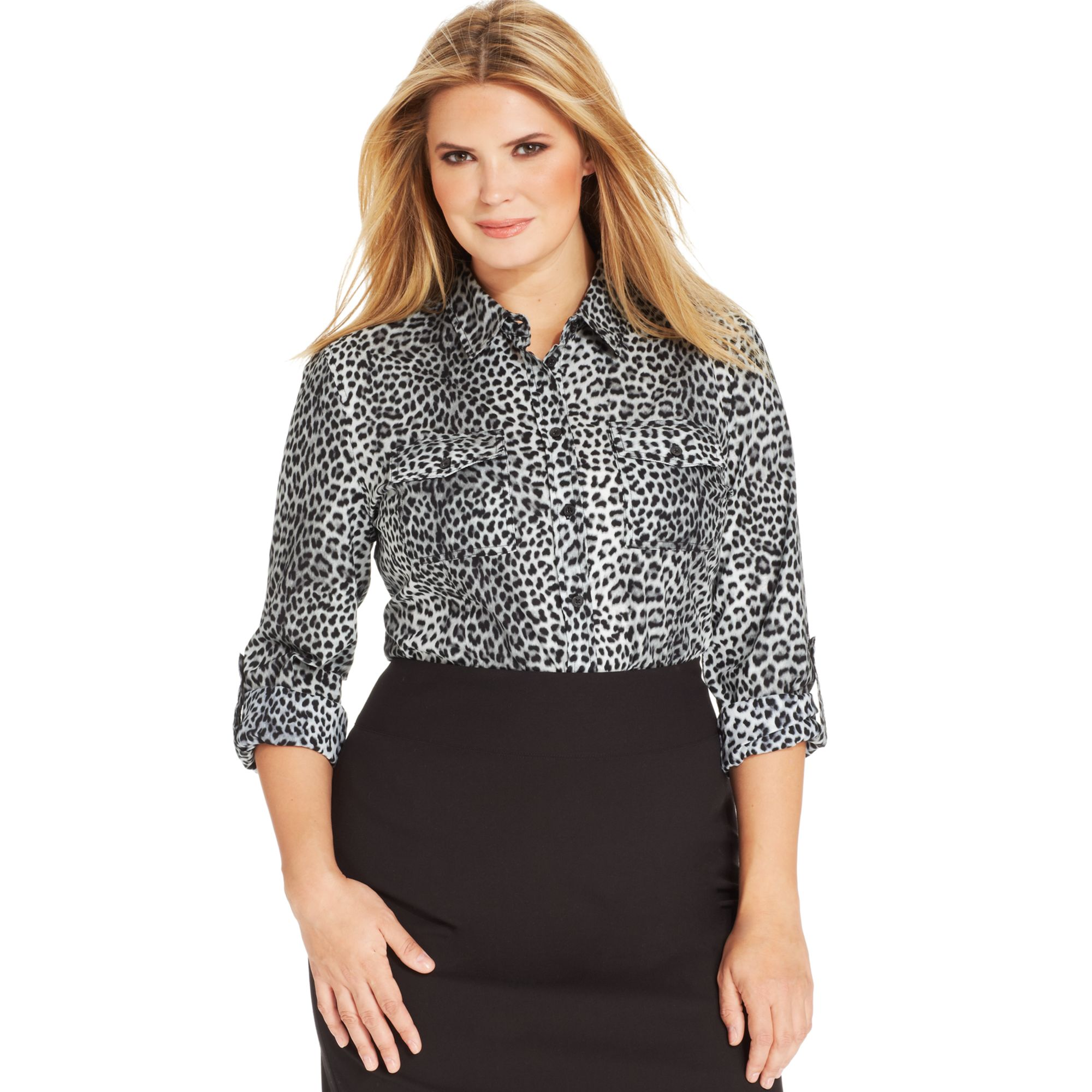 michael kors long sleeve leopard print utility shirt in
