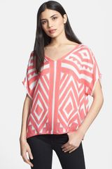 Milly V Neck Silk Dolman Top - Lyst