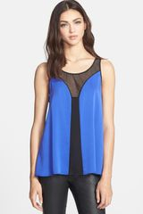 Milly Mesh Flyaway Stretch Silk Top - Lyst