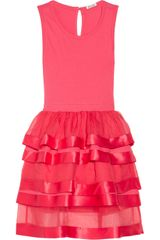 Miu Miu Ruffled Cotton Jersey And Silk Organza Dress - Lyst