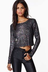 Nasty Gal Prowl The Night Coated Crop Top - Lyst