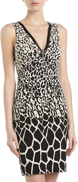 Nicole Miller Giraffeprint Sheath Dress - Lyst