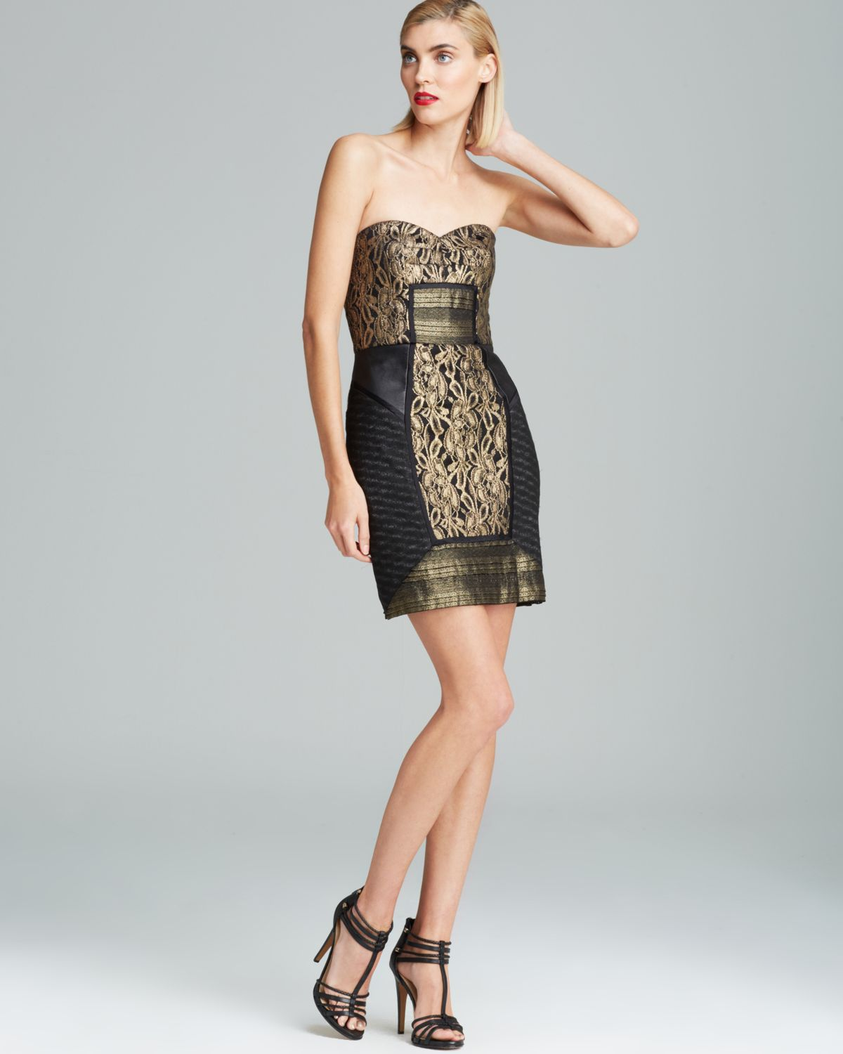 Nicole miller Strapless Metallic Lace Dress in Metallic | Lyst