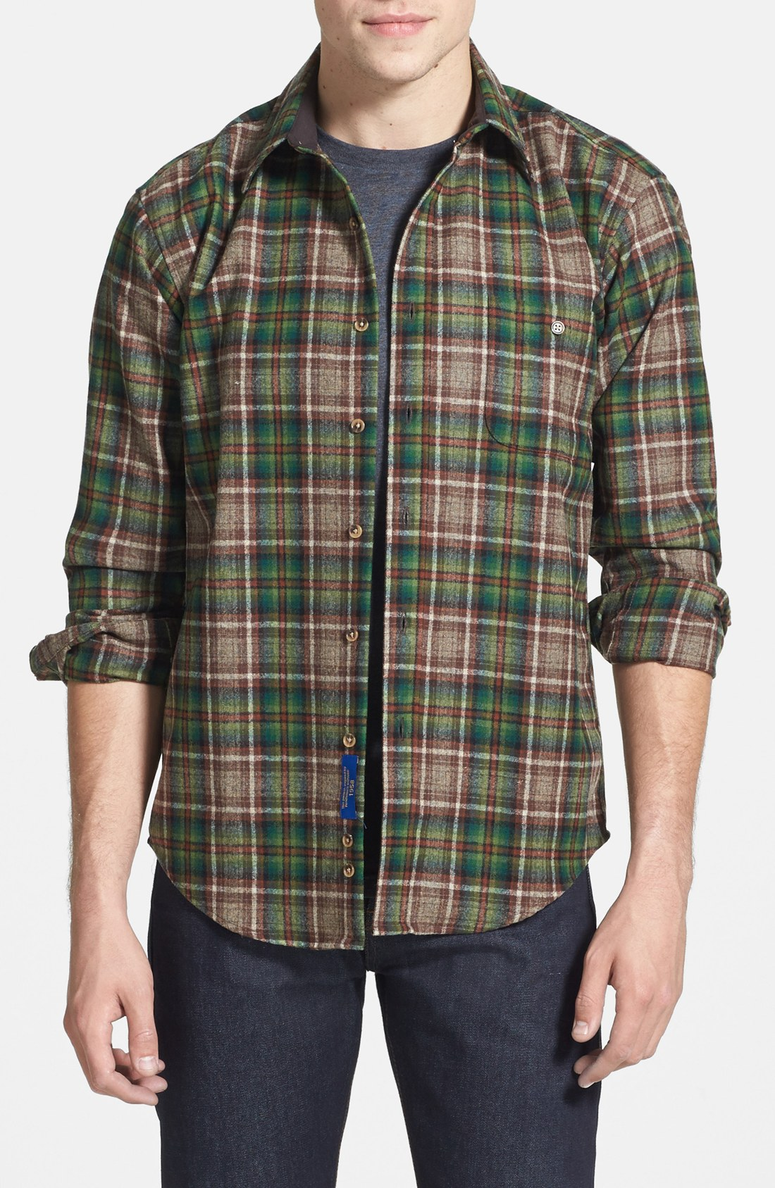 Pendleton trail fitted plaid wool flannel shirt in brown for Mens wool flannel shirt