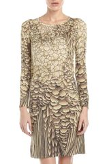 Philosophy di Alberta Ferretti Grain Patterned Long Sleeve Dress Beige - Lyst