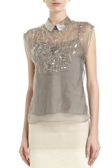 Philosophy di Alberta Ferretti Beaded Collar Bib Blouse Gray - Lyst