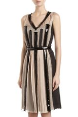 Philosophy di Alberta Ferretti Sequin Mesh Colorblock Chiffon V Neck Dress Gray Pink - Lyst