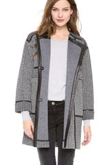 Rebecca Taylor Tweed Leather Coat - Lyst