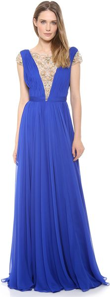 Reem Acra Silk Chiffon Illusion V Neck Gown - Lyst