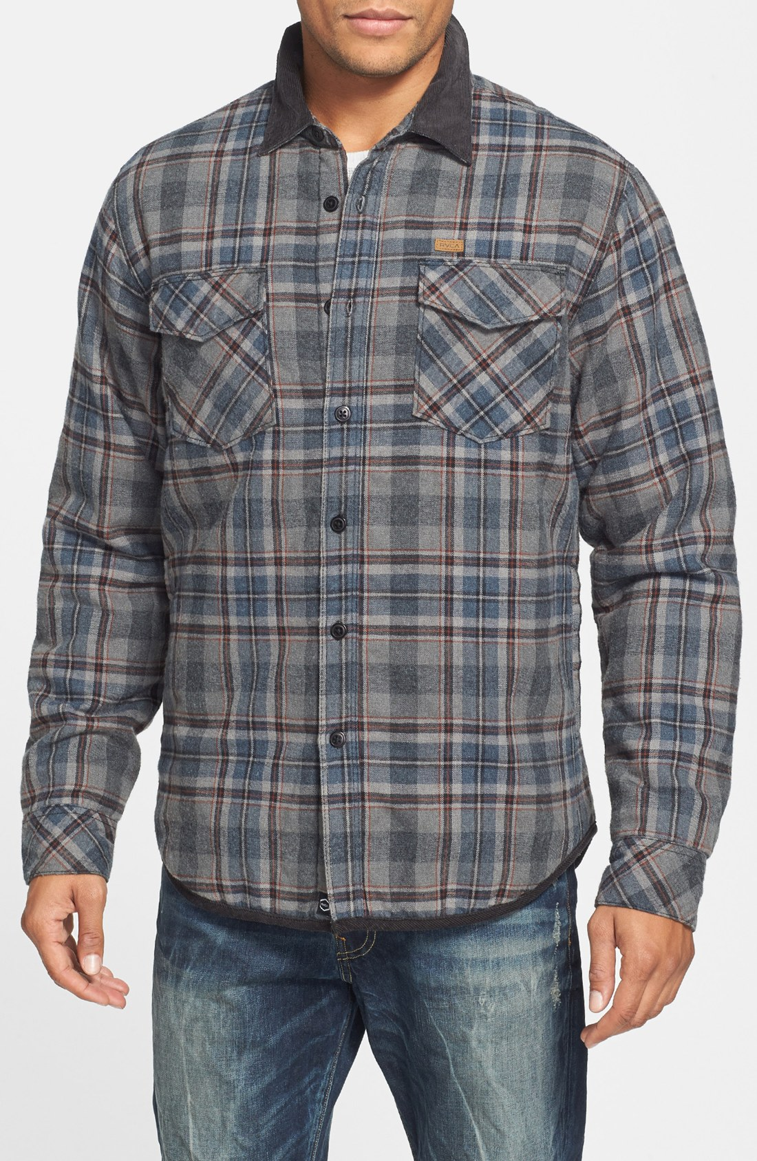 Rvca Frostline Plaid Flannel Shirt Jacket with Quilted Lining in ...