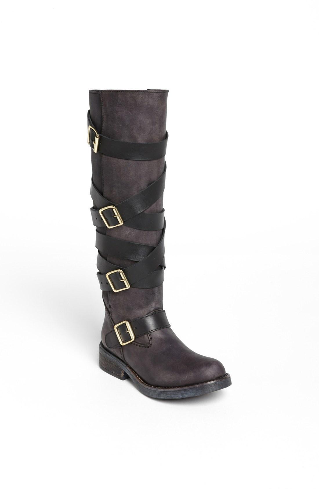 steve madden bryant belted riding boot in black black. Black Bedroom Furniture Sets. Home Design Ideas