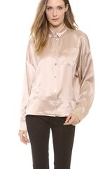 T By Alexander Wang Silk Satin Dolman Collared Shirt - Lyst