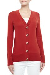 Tory Burch Simone Logo Button Cardigan  - Lyst