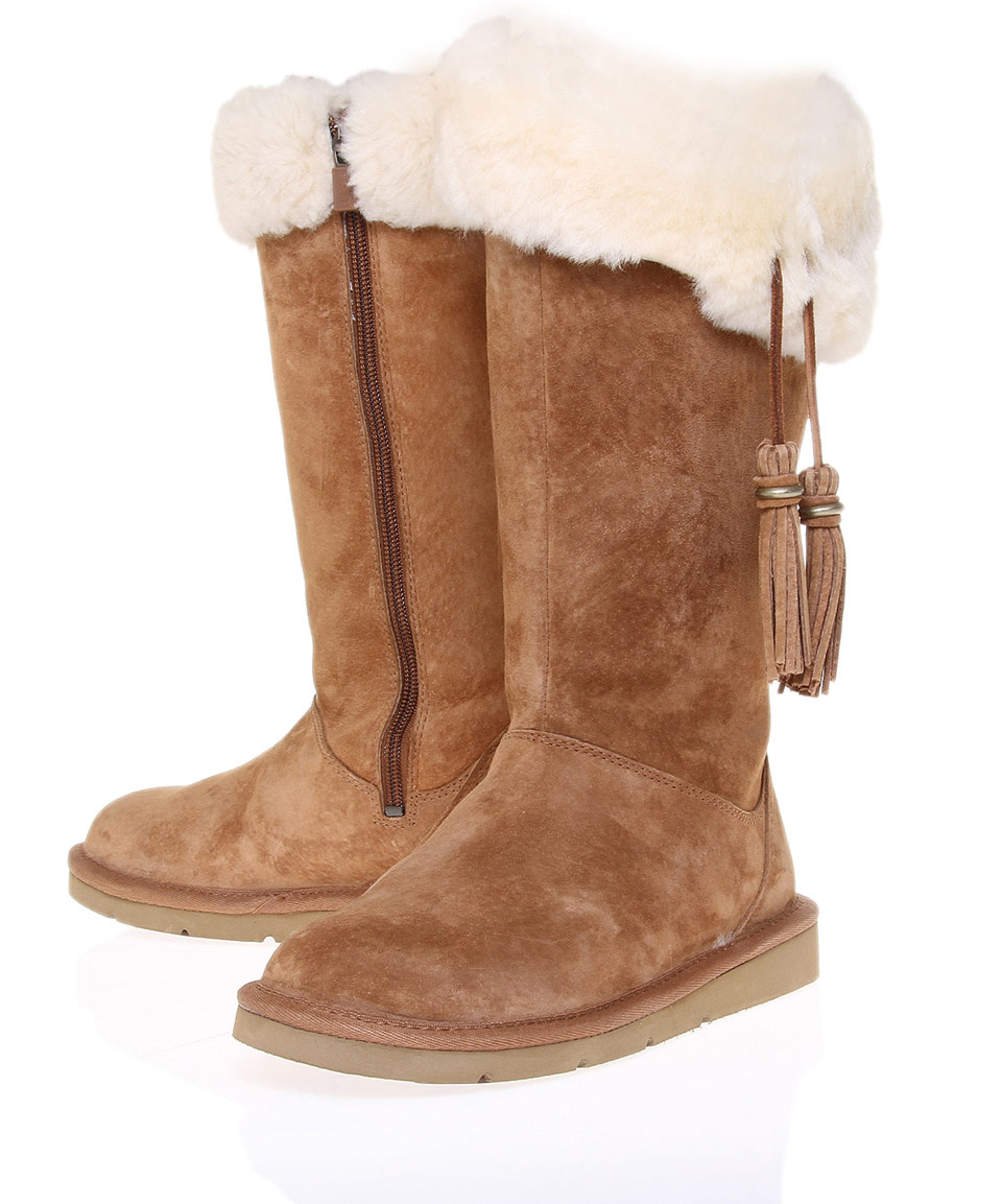 ugg brown plumdale sheepskin knee boots in brown lyst