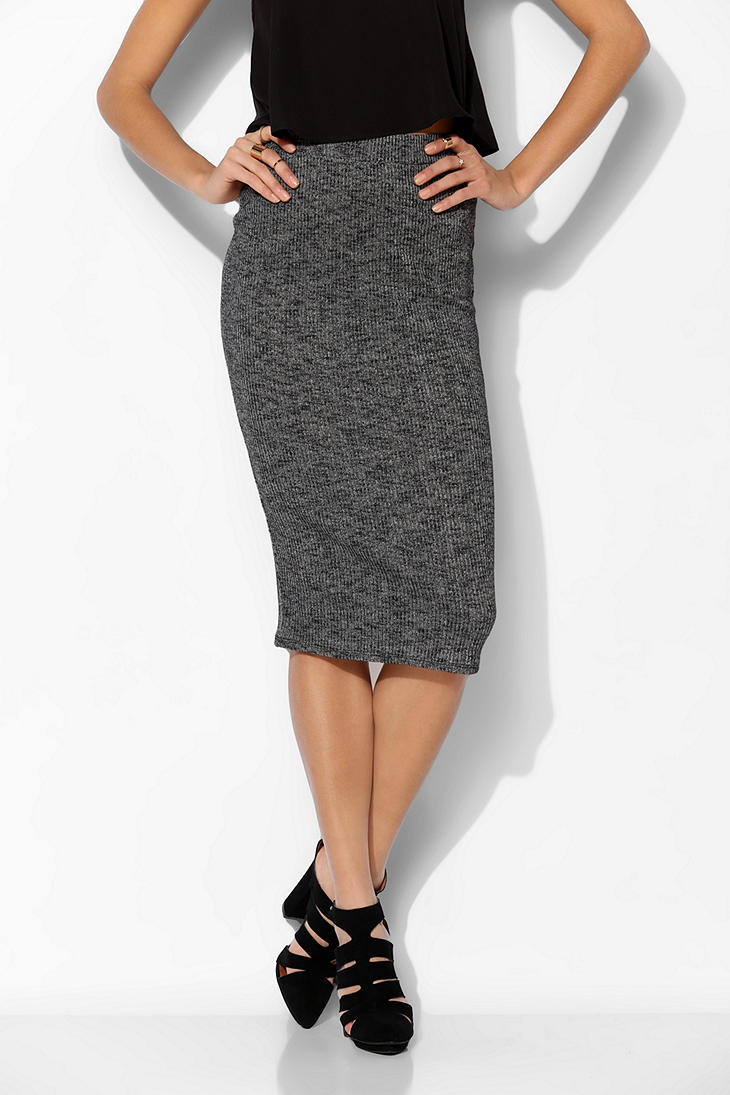 Urban outfitters Sparkle Fade Ribbed Knit Midi Skirt in Gray | Lyst