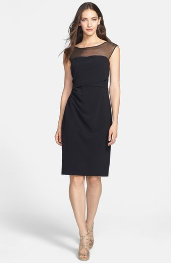 Vera Wang Illusion Side Ruched Sheath Dress - Lyst