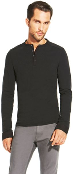 Vince Camuto Long Sleeve Button Knit Henley - Lyst