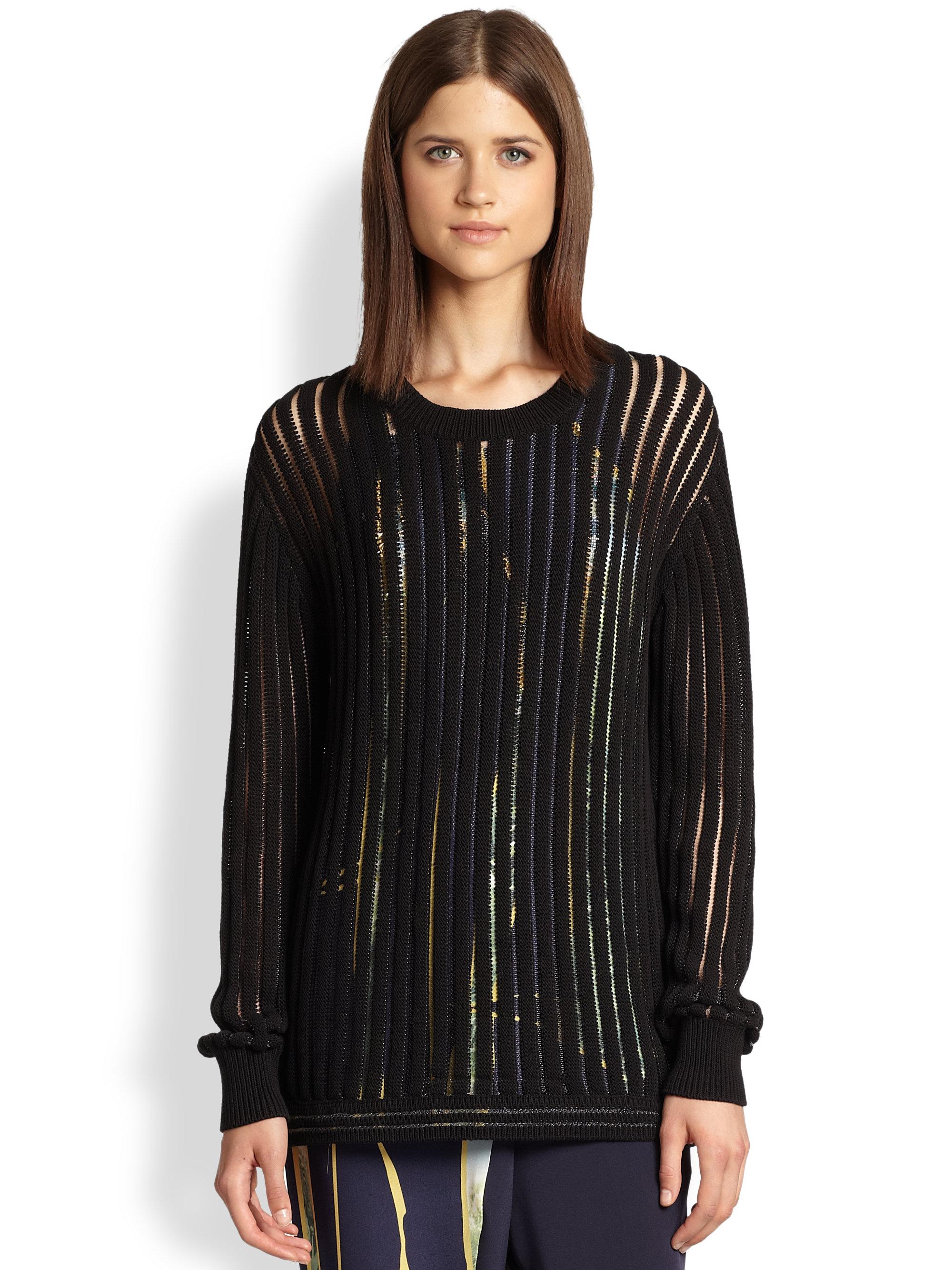 3.1 phillip lim Boyfriend Pullover Sweater in Black | Lyst