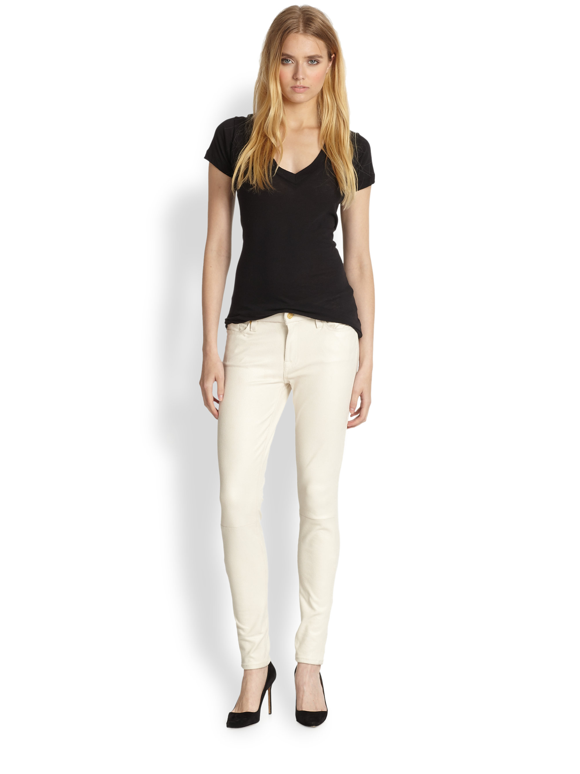 7 for all mankind Crackle Leather-Like Skinny Jeans in Natural | Lyst
