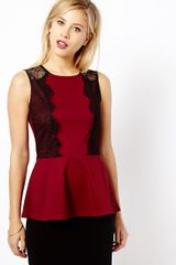 Asos Lace Side Peplum Top - Lyst