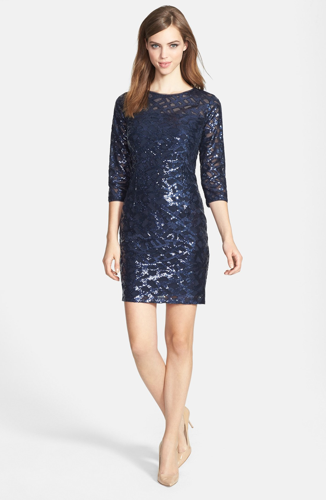 Aidan by aidan mattox Long Sleeve Sequin Dress in Blue | Lyst