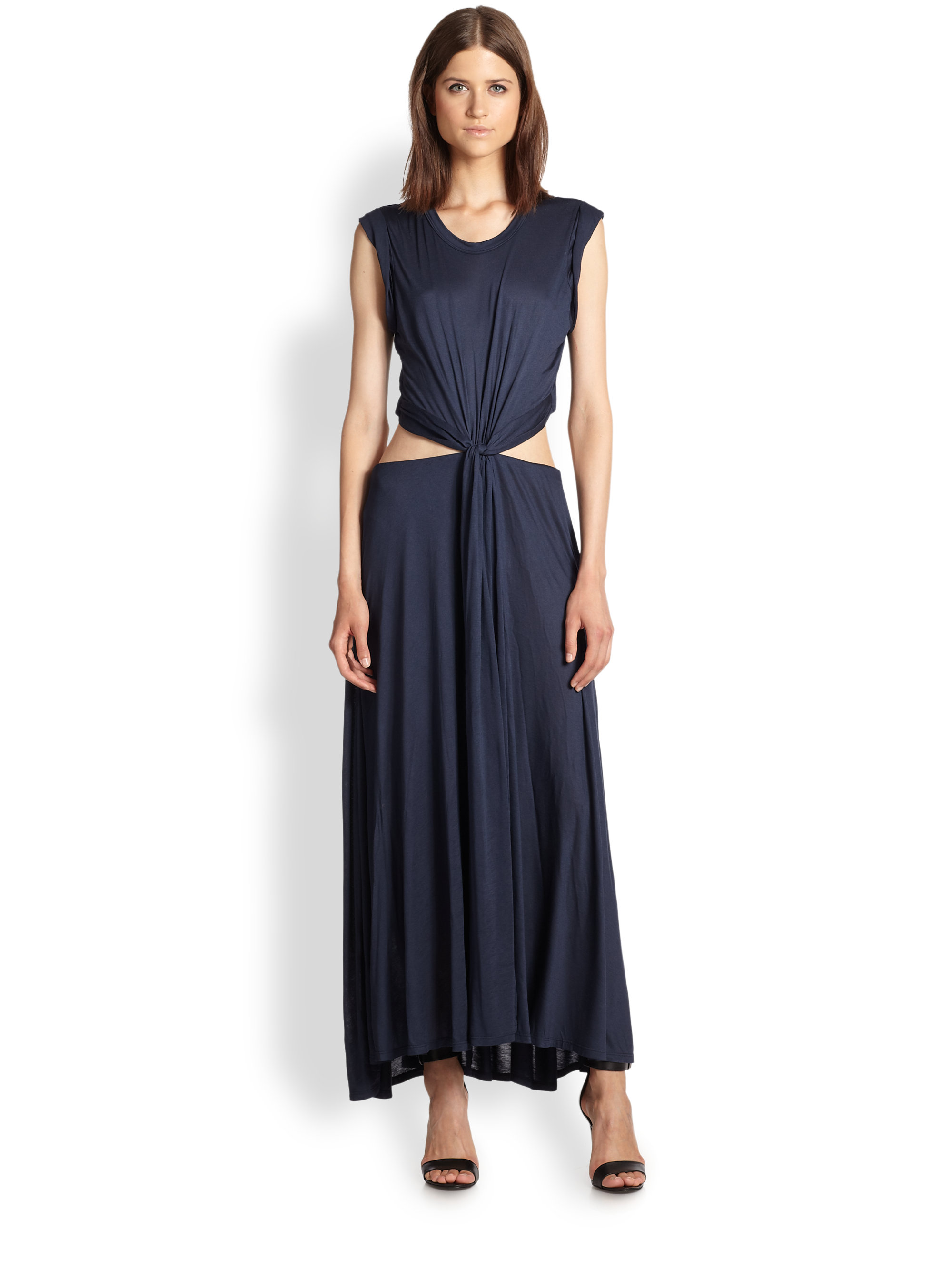 A.l.c. Alejandro Knotted Cutout Waist Jersey Maxi Dress in Black ...