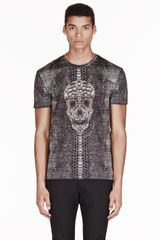 Alexander McQueen Black Python and Skull T_shirt - Lyst